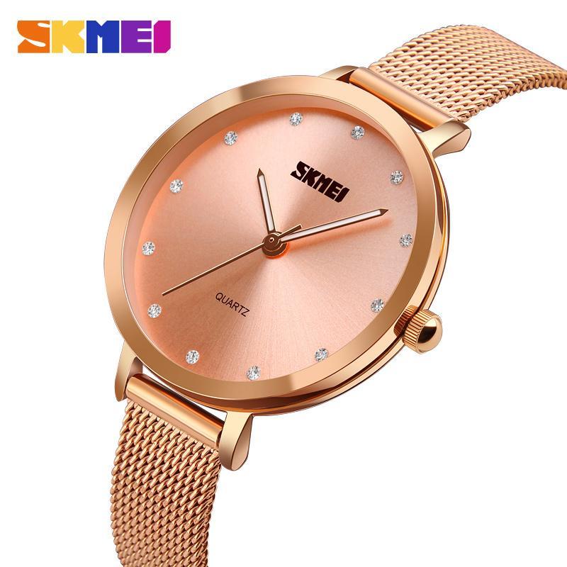 2415e47e7693 Compre SKMEI Moda Montre Femme Mujeres Relojes Oro Rosa Reloj De Pulsera De Acero  Inoxidable Mujeres Reloj De Pulsera De Cuarzo De Lujo Reloj Femenino A ...