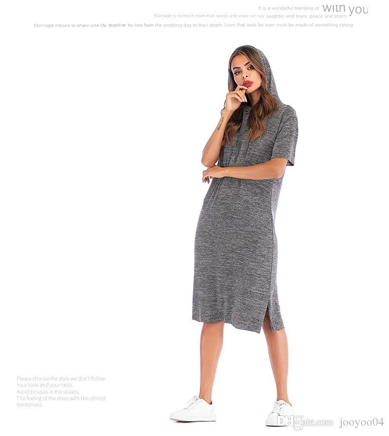 ffaf80ac6a06 Explosion Models Women S Casual Loose Hooded Dress Long Short Sleeved Solid  Color T Shirt Women Fashion Trend Popular Jooyoo Summer Dresses Floral  Dresses ...