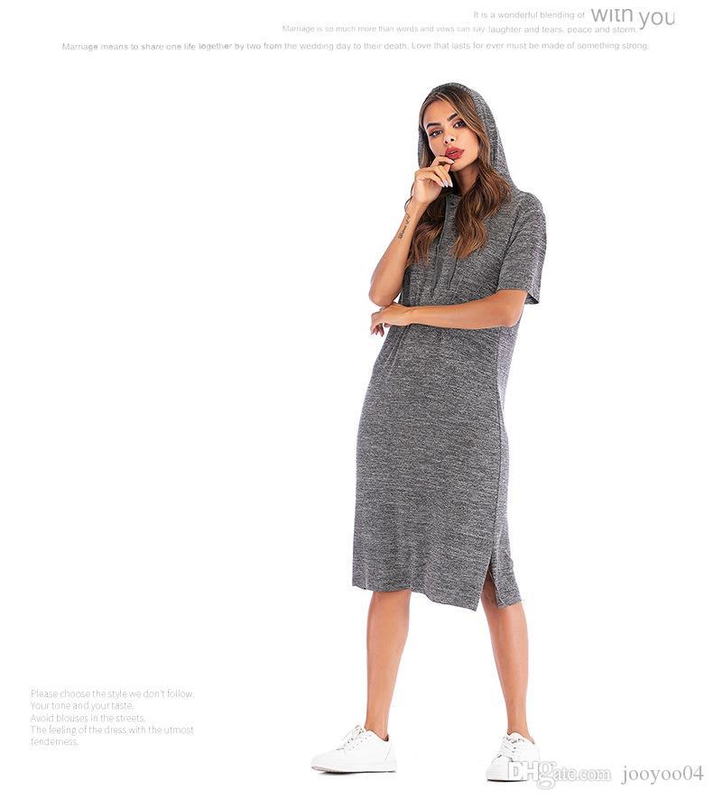9a962256df89 Compre Modelos De Explosão Das Mulheres Casual Solto Com Capuz Vestido  Longo De Manga Curta Cor Sólida T Shirt Tendência Moda Feminina Popular  Jooyoo De ...