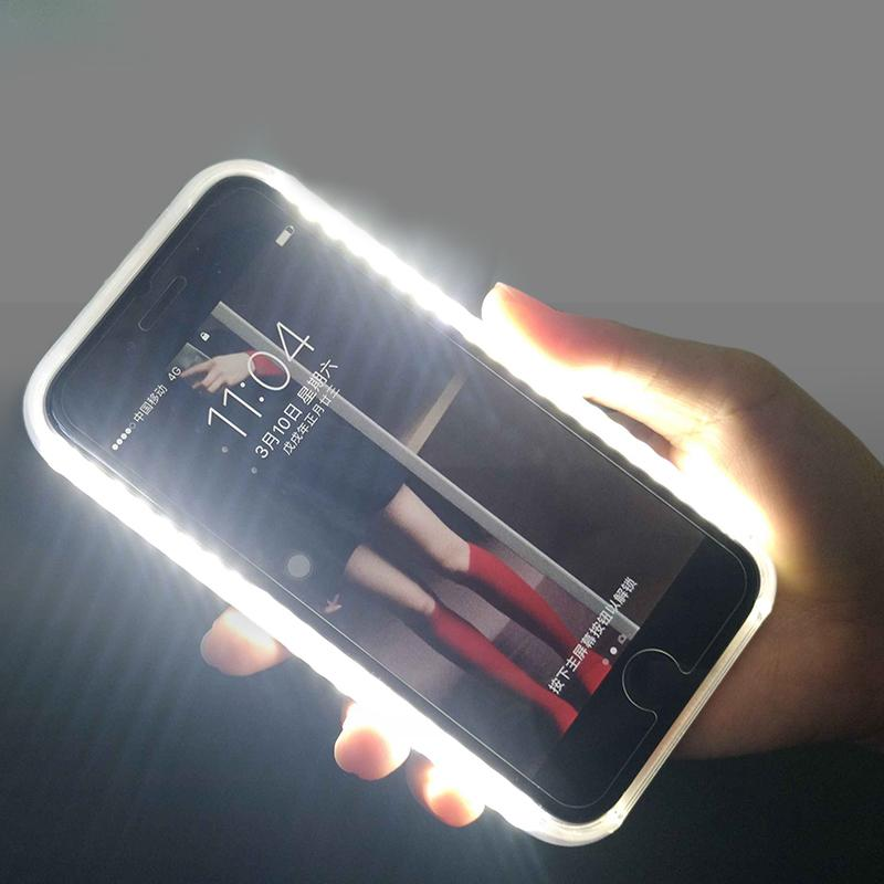 Case For iphone 7 8 X 6 6s plus 5 5s SE Light Up selfie Protector Cover the flash Bag phone Cases For Samsung Galaxy S6 S7 Edge