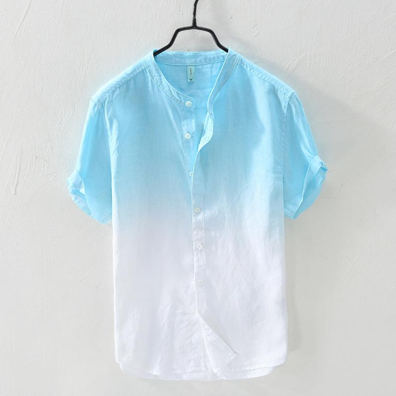 #4722 Summer Short Shirt For Men Candy Color Stand Collar Slim Fit Loose Blue And White Linen Shirt For Man Thin High Quality
