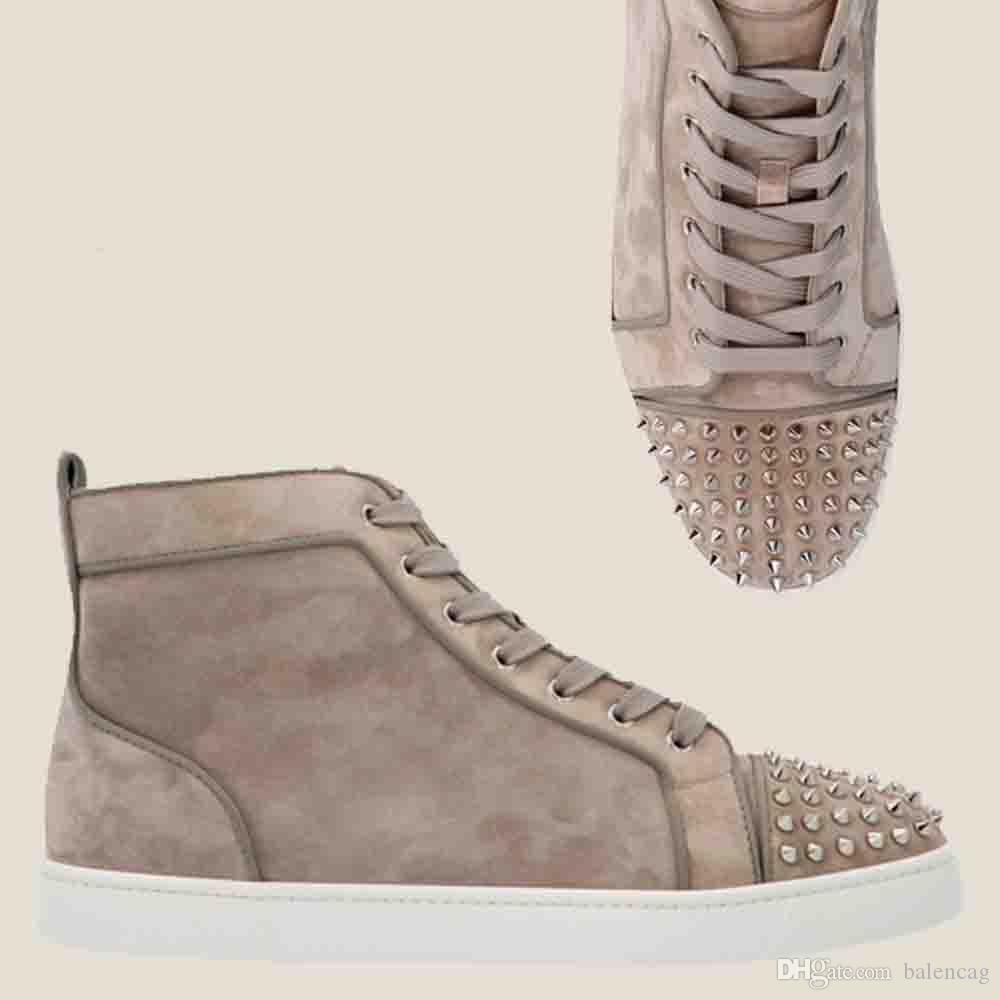 Khaki carneiro Calf Sneaker Mens parte inferior vermelha Shoes High Top Street Style Camurça Couro Sneakers cravado Toe Moda Casual Trainers