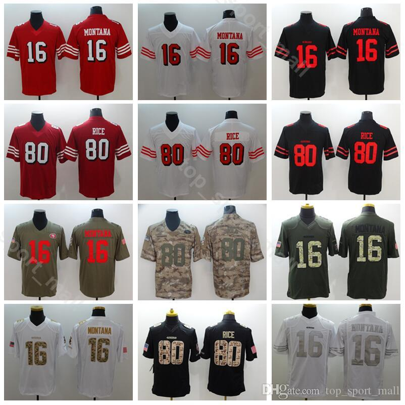 on sale 02fbf 0b61c San Francisco 49ers Football 16 Joe Montana Jersey Men 80 Jerry Rice  Uniform Salute to Service Vapor Untouchable Camo Red Black White