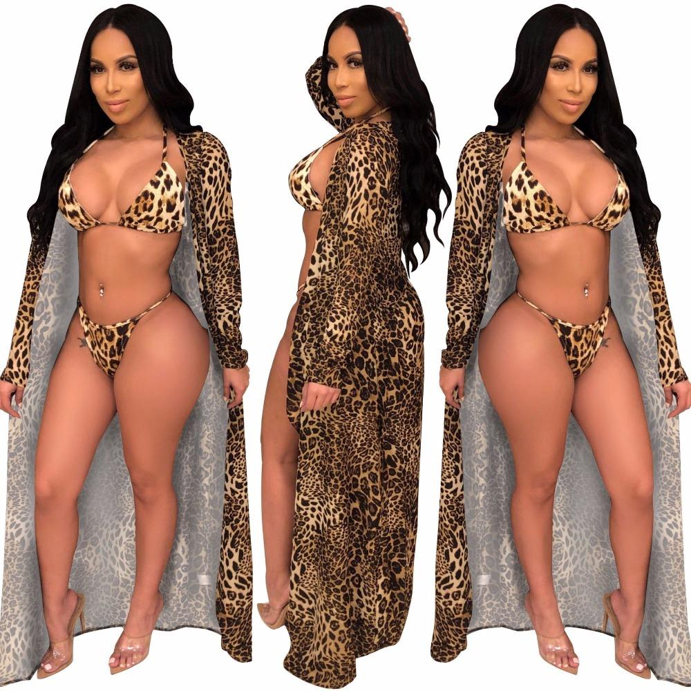 5571d08e50bc 2019 2019 New Women Leopard Long Sleeve X Long Blazers Bra Panties Three  Pieces Set Sexy Beach Tracksuit Outfits S 2XL Suits A8321X From Zhenhuang,  ...