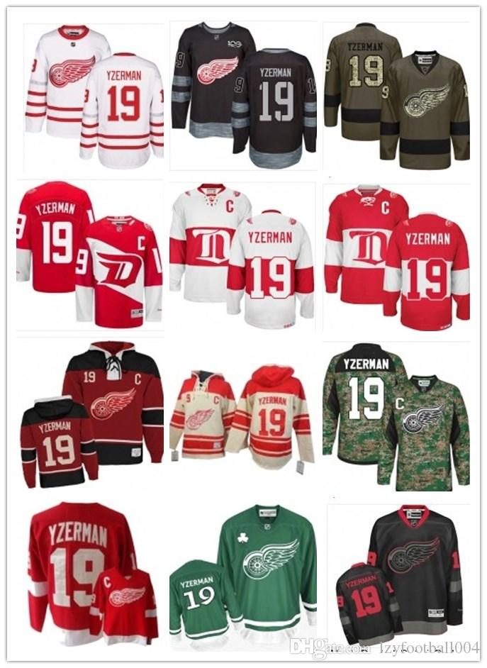 2019 Custom Any Name Number Detroit Hockey Jersey Green 19 Steve Yzerman Men/WOMEN/ YOUTH Red Wing Game Worn Hockey Jersey Shirt