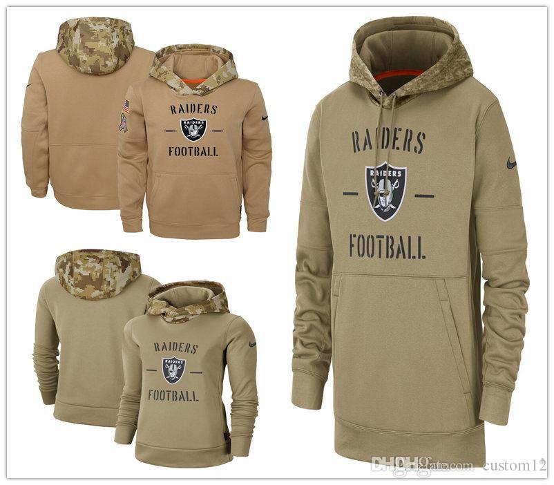Oakland Men Women Youth American football Sweatshirt Raiders2019 Salute to Service Sideline Therma Pullover Hoodie Tan