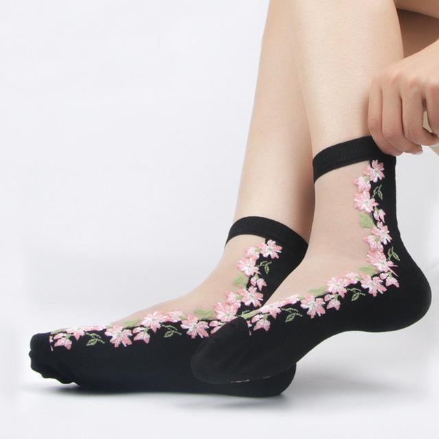 Mode Ultradünn transparent Socken Nylonfrauen kurz Socken elastisch Spitze
