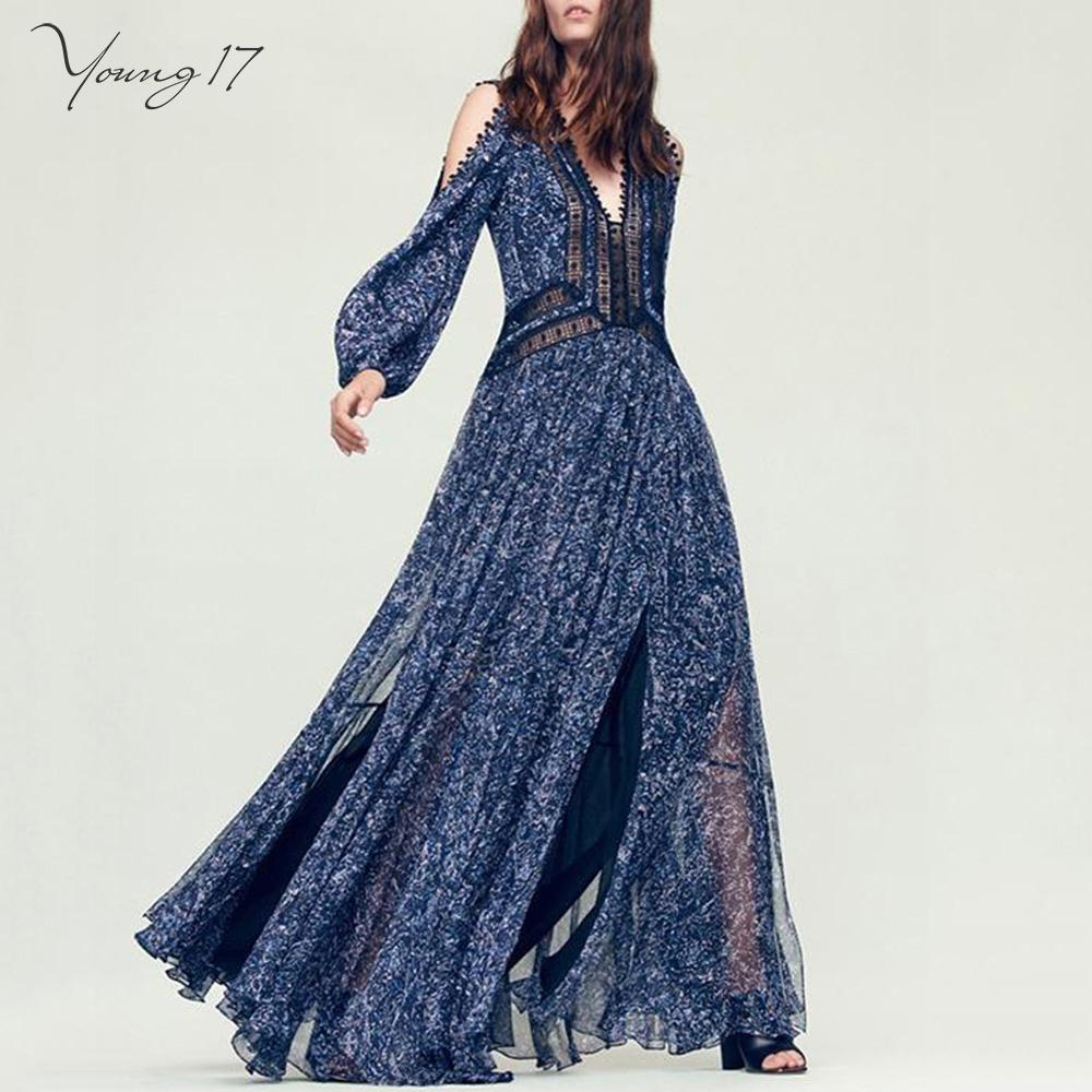 b9a857571d4e 2019 Dark Blue Deep V Maxi Gown Off Shoulder Long Sleeve Split ...