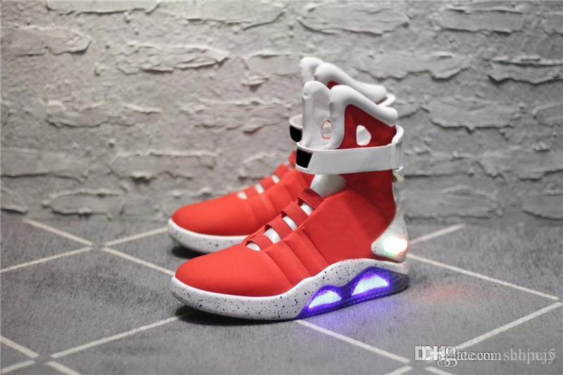 b599c214bc2 2019 Air Mag Sneakers Marty McFly S LED Shoes Back To The Future Glow In The  Dark Gray Black Red Color Mag Marty McFlys With Box Hottest 40 From China5