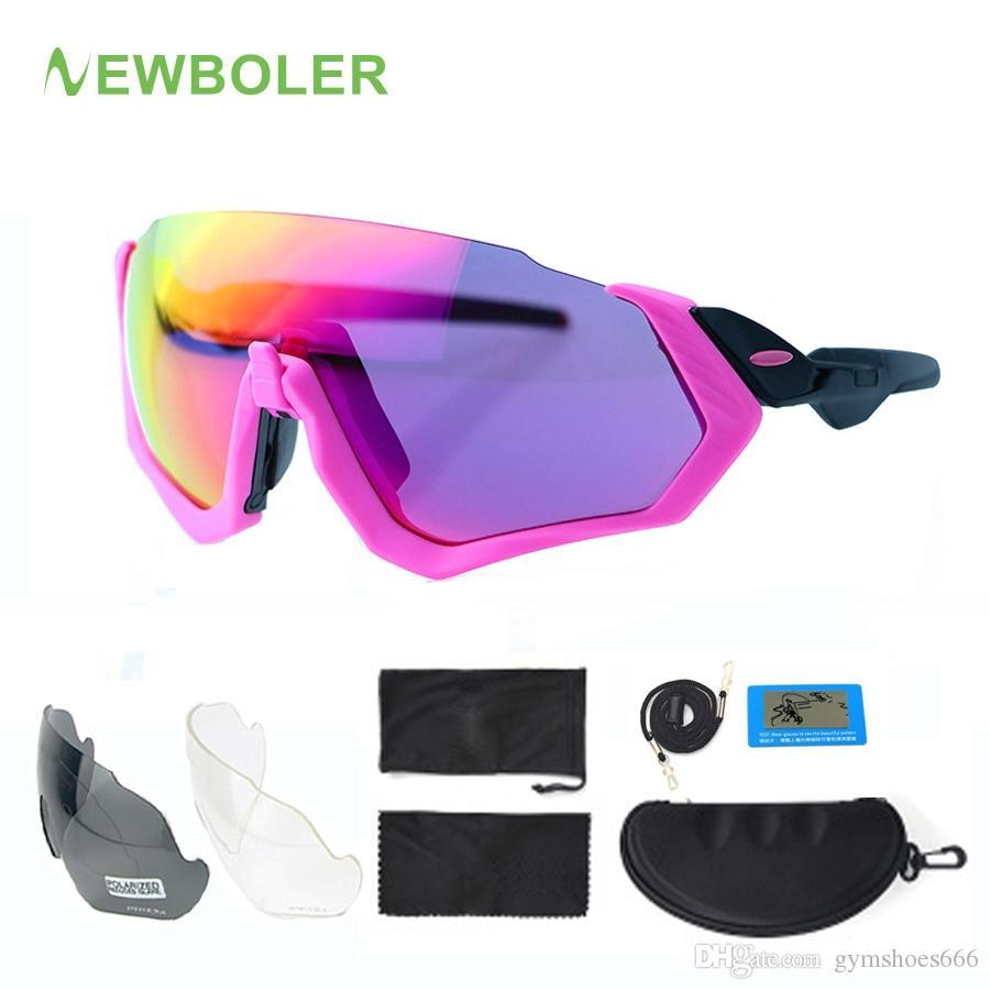 Compre NEWBOLER 2019 Polarized Ciclismo Óculos De Sol Para As Mulheres Rosa  MTB Bicicleta Óculos 3 Lens Esportes Eyewear UV400 Bicicleta Óculos De Sol  ... 348080e834