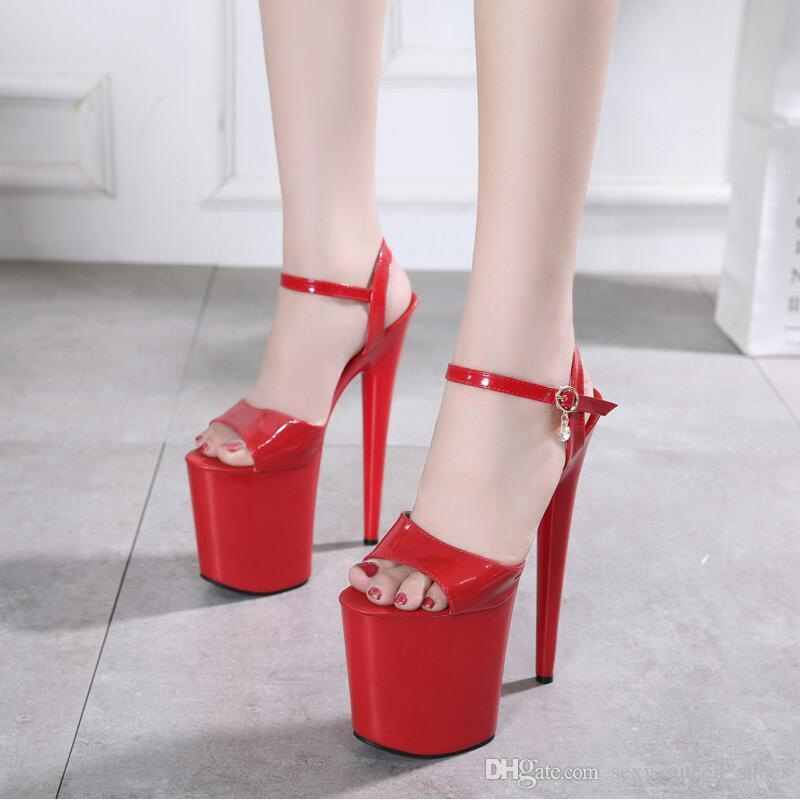 ba25b5588b16 European 20cm Buckle Red Women Sandals Platform Patent Leather Sexy Lady Party  Shoes Summer Heels Open Toe Stage Show Magazine Photograph Cheap Shoes  Wedge ...
