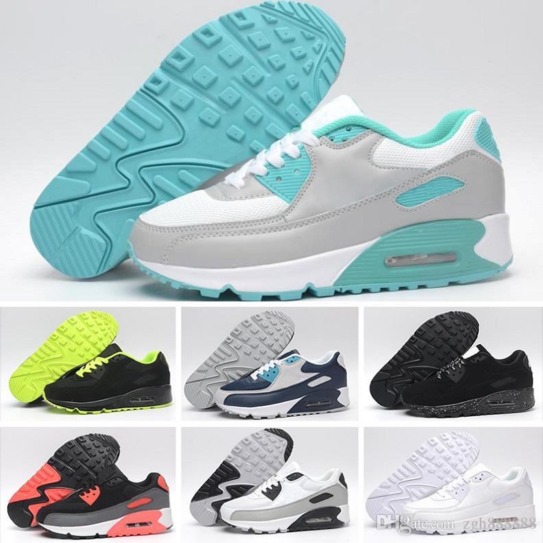 NIKE Air Max 90 Venta caliente zapatillas de deporte baratas 90 hombres y mujeres zapatillas todo negro blanco transpirable deportes zapatillas 36 45