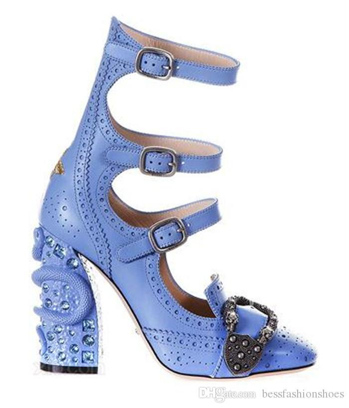 501298289d11 Celebrity Designer Shoes Luxury Round Toe Ankle Boots Buckle High Heels  Python Chunky Heel Band Ladies Pumps Party Rhinestone Shoes Woman Jesus  Sandals ...