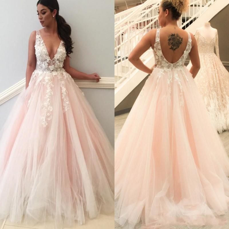 Discount 2018 Baby Pink A Line Wedding Dresses Deep V Neck 3D Flowers Lace  Applique Beads Illusion Sweep Train African Plus Size Bridal Gowns Wedding  Gown ... 753b8b25d
