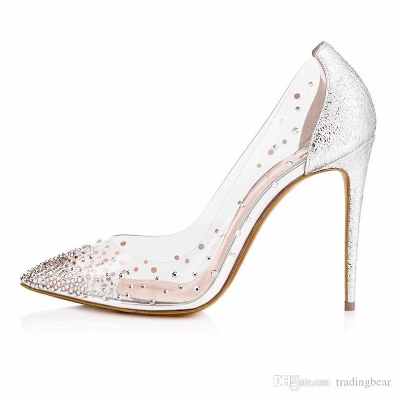 Venez avec le logo et de boîte Chaussures de mariage de mariée de luxe Rouge Bas Hauts talons en cristal clair robe strass chaussures taille 35 40 41