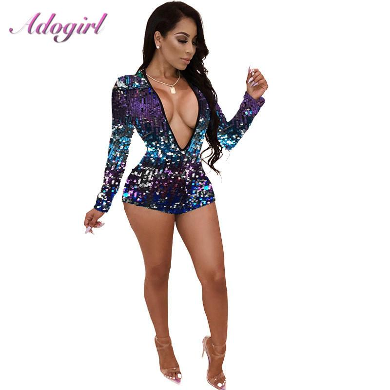 Adogirl Colorful Sequins Deep V Neck Playsuit Women Sexy Sheath Long Sleeve Shorts Jumpsuit For Night Club Party Fashion Rompers Y19071801