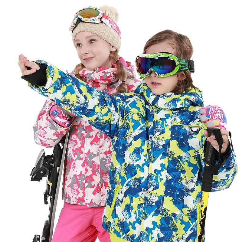 c19d25cb90b4 Niños Traje de esquí Marcas infantiles A prueba de viento Impermeable  Cálido Niñas y niño Snow Set Pantalones Esquí de invierno y snowboard ...