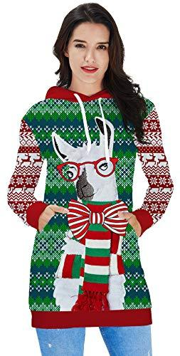 0d590df509728 Ahegao Women's Hoodie Dress Ugly Christmas Sweater Tunic Pullover 3D  Printed Casual Long Sleeve Girls Sweatshirts Big Pockets
