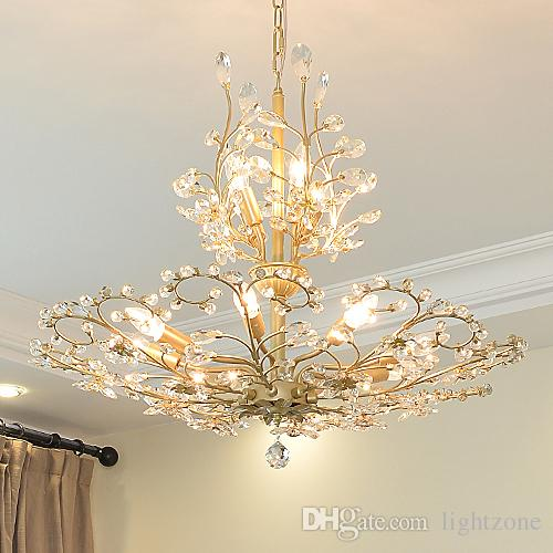 New coming American crystal chandelier lamps home living room retro  chandelier lights restaurant bedroom vintage led crystal pendant lamps