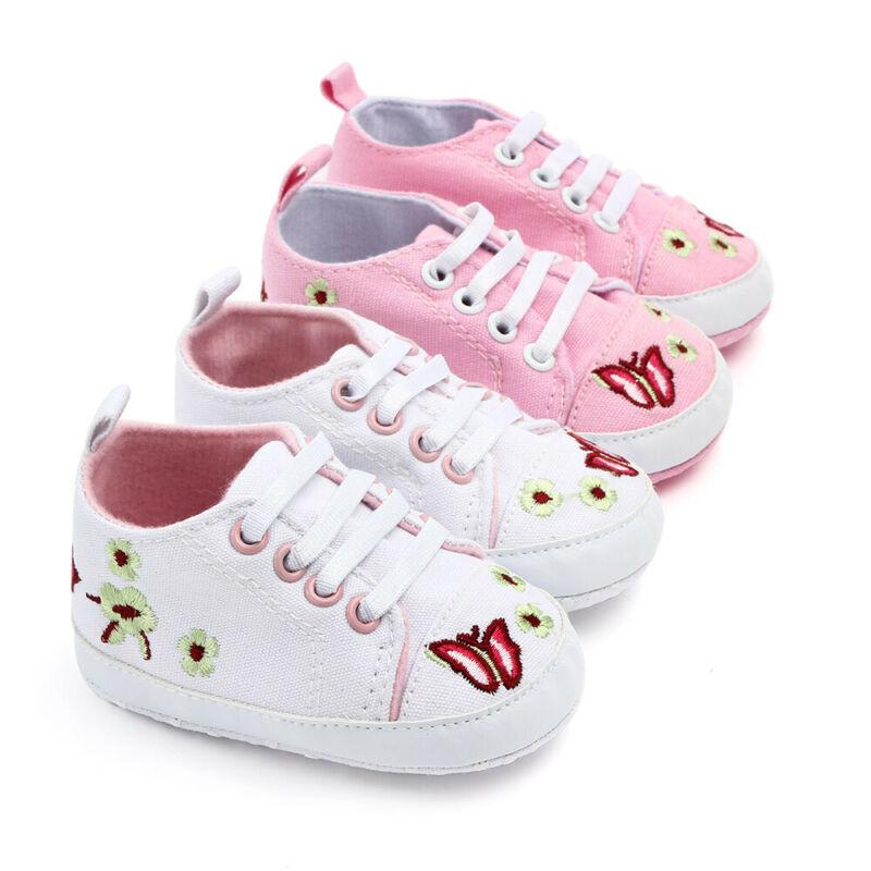Newborn Baby Girl Canvas Crib Shoes Infant Flowers Anti-slip Sneakers Toddler PreWalker Girls Trainers First Walkers 0-18M