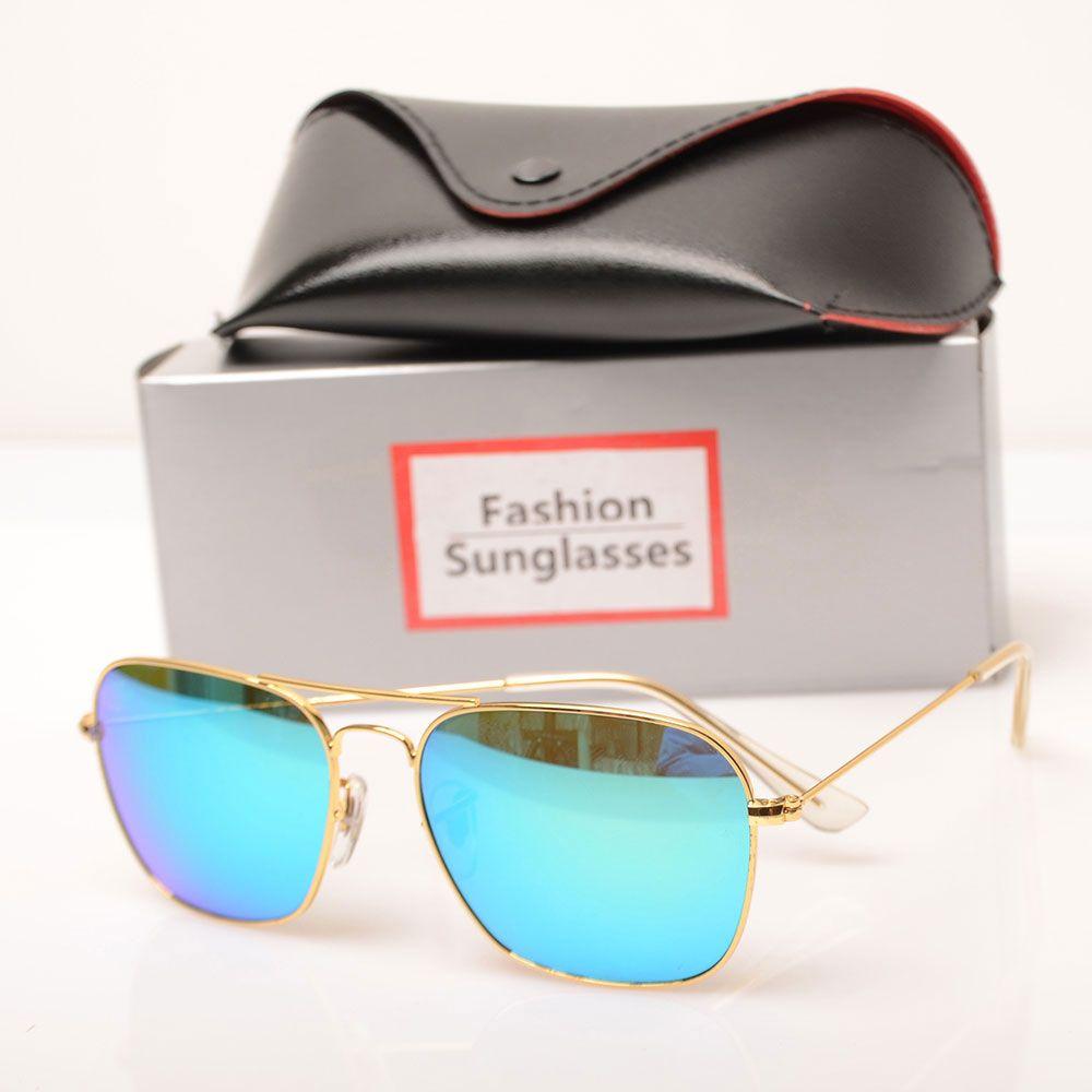 New mens sunglasses glass lens Brand Designer sun glasses Color lens Mirror sunglasses womens glasses ray design sun glasses with case