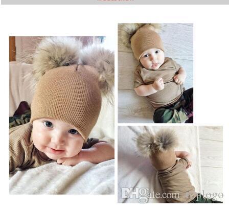 9250a15224c Children Hat Toddler Kids Baby Warm Winter Wool Hat Knit Beanie Fur ...