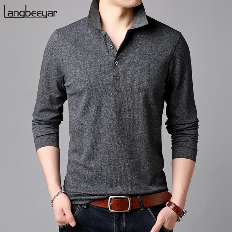 2019 Top Grade New Fashion Brands Polo Shirt Mens Solid Color Long