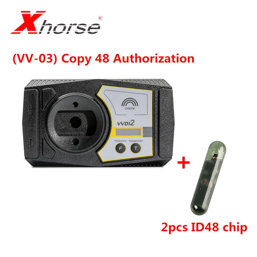 Xhorse (VV-03) for Copy 48 Transponder by OBDII Function Authorization Service for VVDI2 With 2pcs ID48 Chip