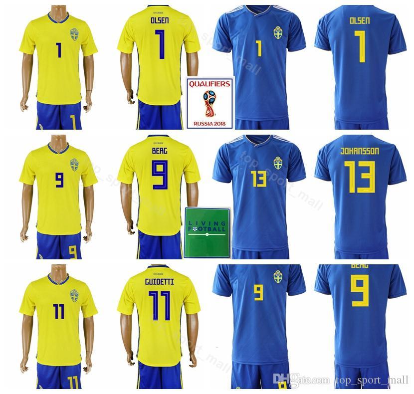 b25f8d64fd7 2019 2018 World Cup Soccer Jersey Sweden Set Men 9 Emil Forsberg 1 Robin  Olsen Football Shirt Kits 20 Ola Toivonen Custom Name Number From  Top sport mall