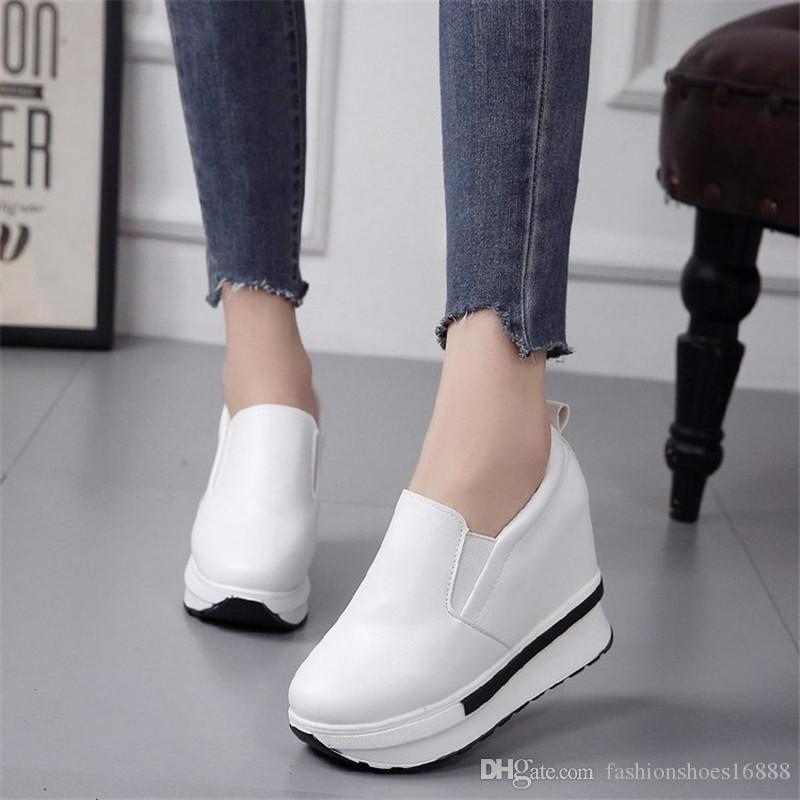 3f10b1b8a798b Leather Hidden Heel Loafers High Platform Wedge Sneakers Women Fashion  White Shoes Ladies Casual Black Luxury Designer Sneakers Woman