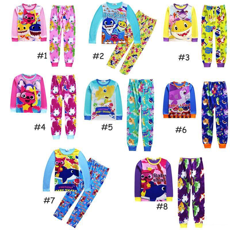 a49763e1e Children Pajamas 2019 New INS Baby Shark Suits Pajamas Girls Boys Cotton  Cartoon Long Sleeve T-shirt+Pants 2pcs Sets Baby Kids Clothing B11