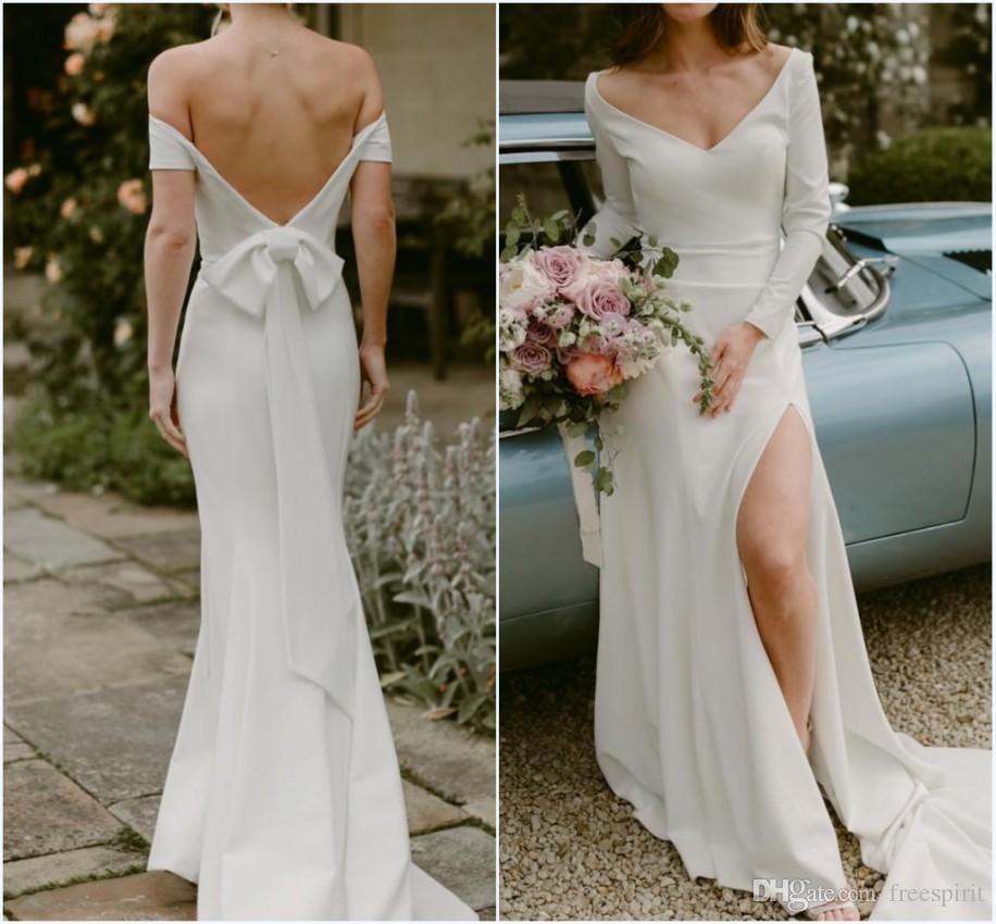 High Slit Wedding Dress Ivory Elegant Off The Shoulder V Neck Plain Satin Bride Gown Long Sleeve Front Split Bridal Dresses Simple
