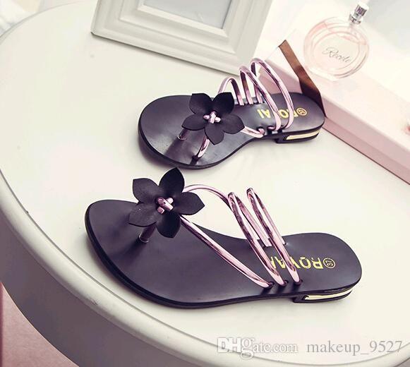 62f3f5f5b2 fashion flat Sandals Bohemia Sweet women Sandals Flower Flat Flip-flop  flats Women's Shoes Free shipping red colors 35-40