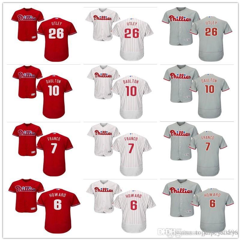 online retailer d1cab a44b3 custom Philadelphia Men s women youth Phillies Jersey #6 Ryan Howard 26  Chase Utley 7 Maikel Franco 10 Darren Daulton Baseball Jerseys