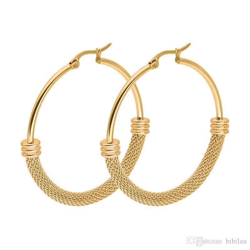 2f56f6953088 Compre Venta Al Por Mayor TE 0049 Pendientes Redondos De Aro Redondos De  Acero De Titanio 1 Par Joyas Para Mujer Moda 18 K   Oro Blanco Color Sin  Fundido 3 ...