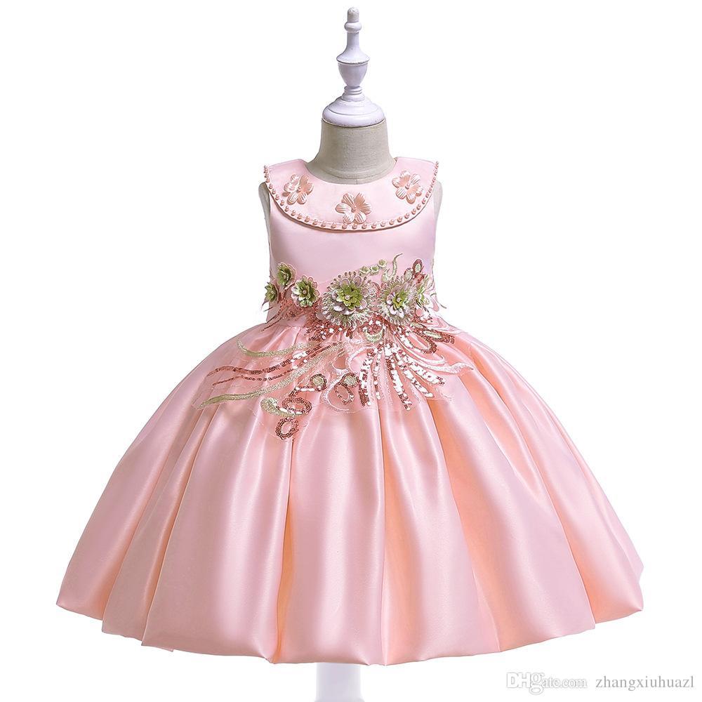 216894d33 Compre Vestidos De Niños Para Niñas Ropa Fiesta De Flores Vestido De Novia  Elegante Vestido De Novia Para Ropa De Niña 3 8 Años 2019 Traje De Princesa  De ...