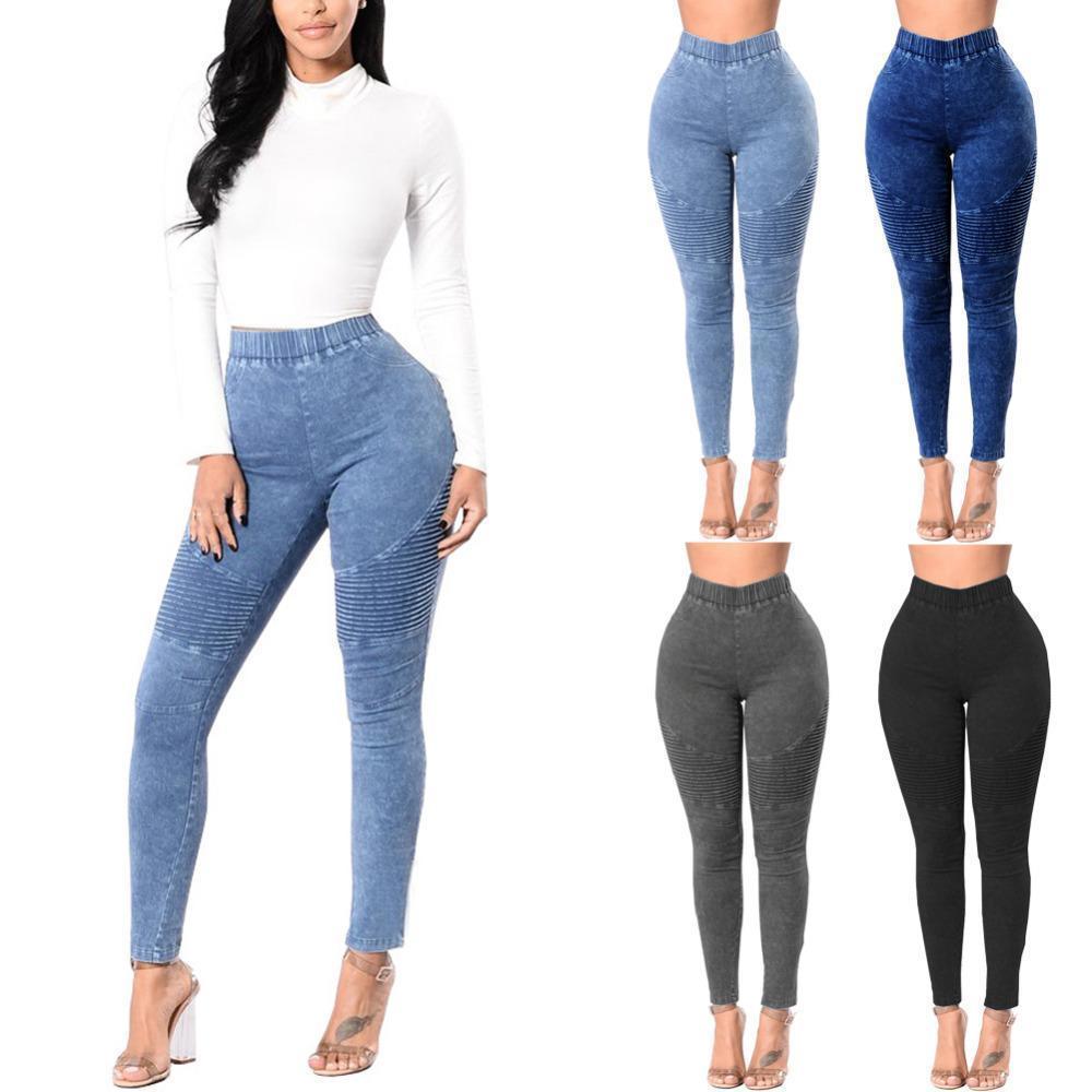 ff728cc02512c2 Compre Mujeres Jeans Ajustados Otoño Invierno Jeans De Mezclilla Pantalones  Vaqueros Elásticos De Cintura Alta Leggings Lavados Con Pliegues Lápiz  Flaco ...