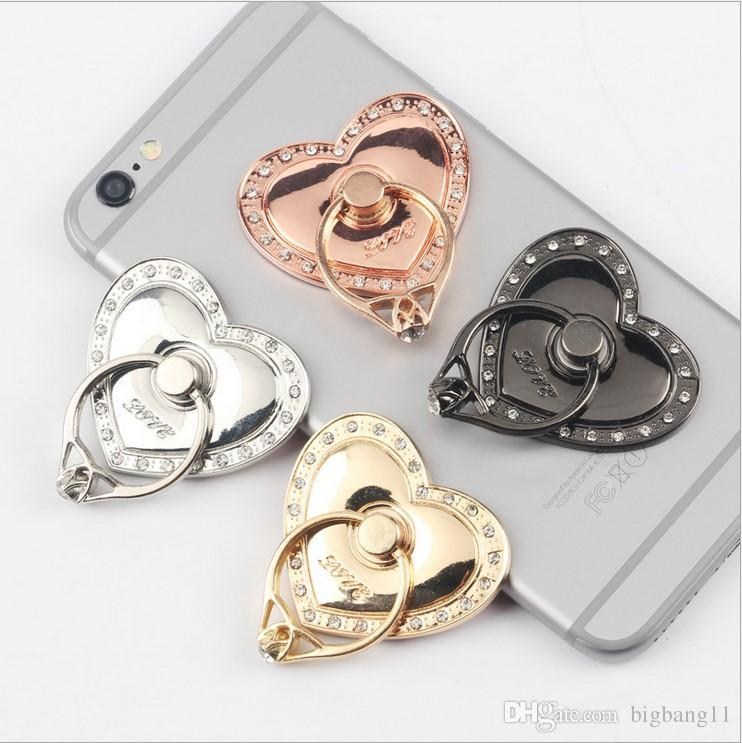 Universal Rotating 360 Liquid Finger Grip Bling Glitter Heart Phone Stand Holder for iphone 7 8 Samsung s7 s8 android phone pc tablet