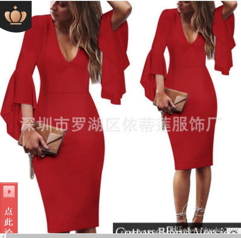 2019 new style Large size S-5XL printing dresses sexy deep V horn sleeve waist nightclub holiday beach party dance long skirt Multicolor