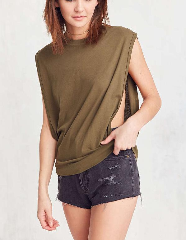 Sexy Fashion Women shirt sem mangas casual solta Dividir Regatas Camisas 2017 Summer Fashion Side oco Out