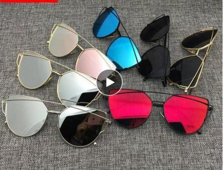 a368e5d30 2019 Cat Eye Vintage Designer Rose Gold Mirror Sunglasses For Women Metal  Reflective Flat Lens Sun Glasses Female Oculos Sunglasses For Women Cat Eye  ...