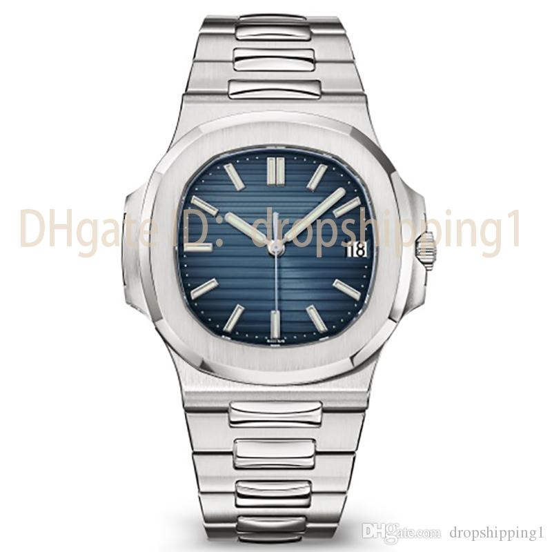 2019 Top Nautilus Watch Men Automatic Luxury Watch 5711 Silver Strap Blue Stainless Mens Mechanical Orologio di Lusso Wristwatch Date Chrono