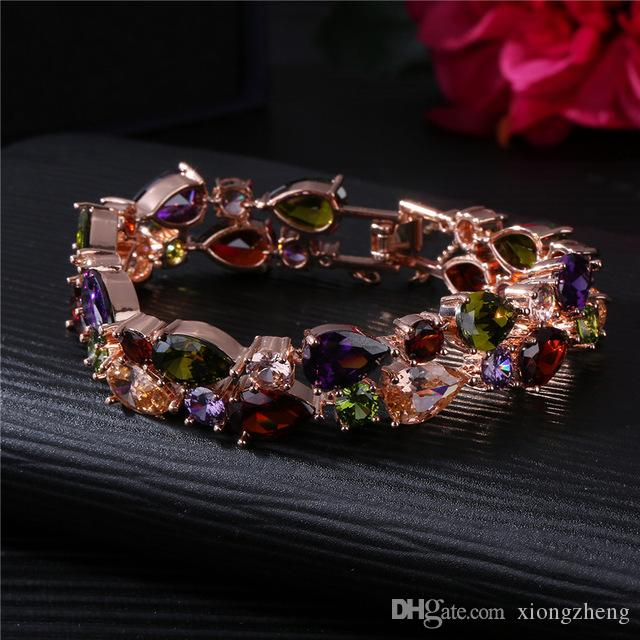European and American Mona Lisa Colorful Zircon Bracelet Colorful Rose Gold Bracelet Fading Jewelry Beautifully Fashion Matching Bracelet