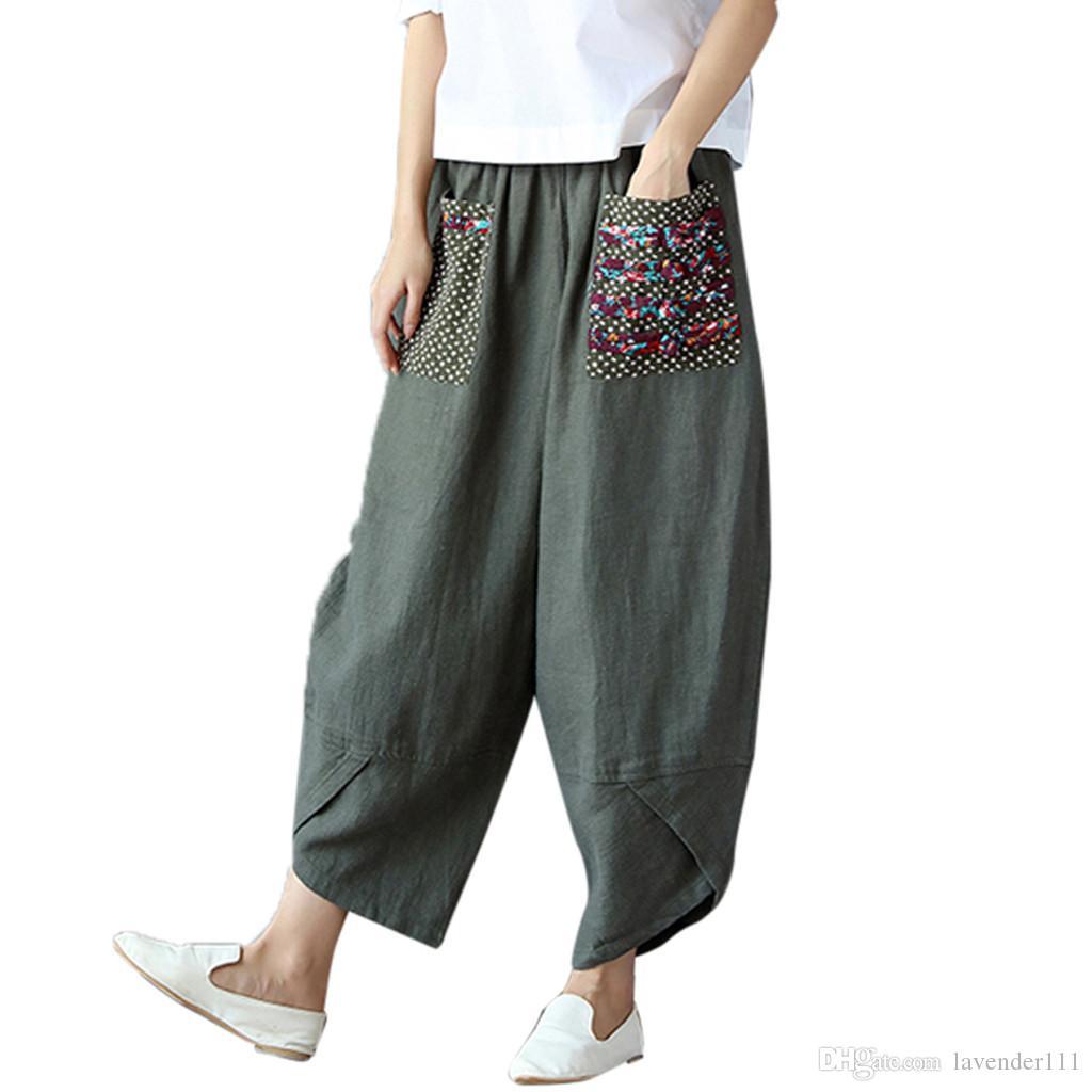 nuevo estilo 65b89 1ef1a pants women pantalones mujer cintura elastica Loose Cotton Linen Long Harem  Pants Women Elastic Waist Casual Overal