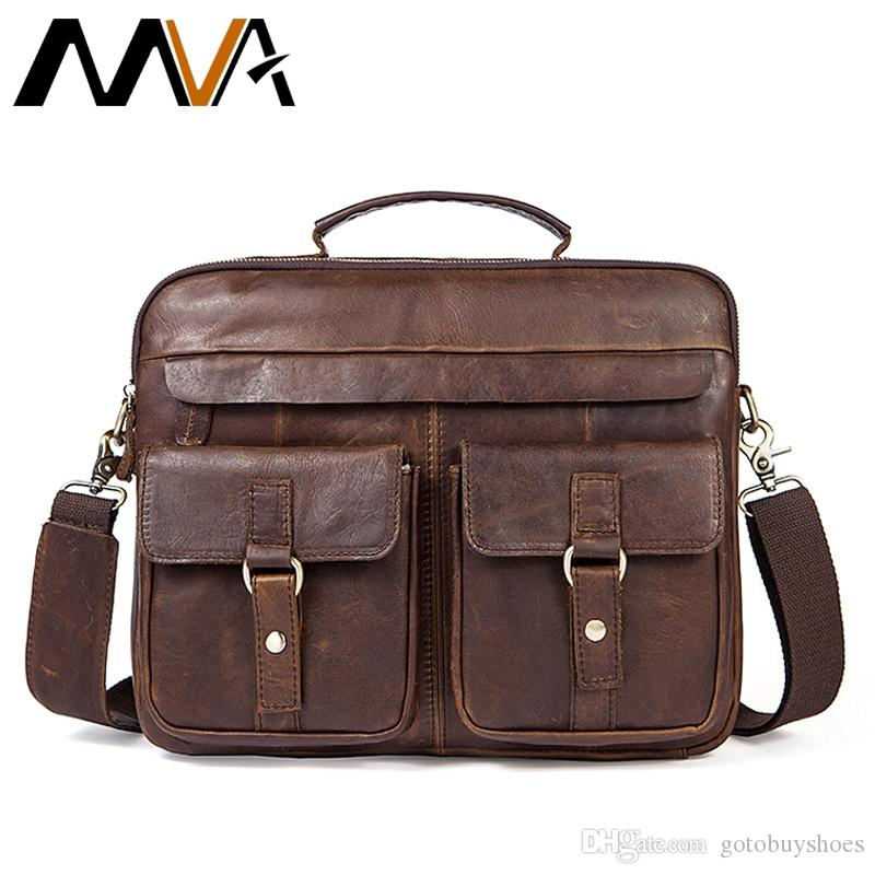 MVA Men's Briefcases Messenger Bags Men Genuine Leather Briefcases Bag for Documents Laptop Leather Business Bags Work Bag #48561
