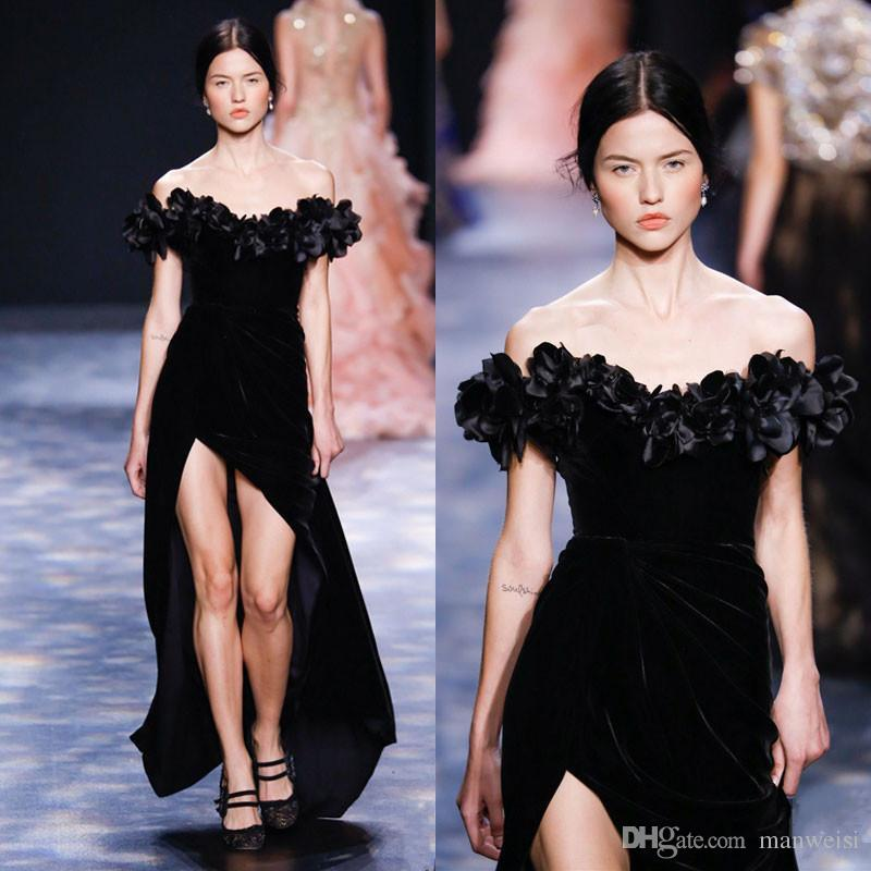 bc02740f Black Marchesa Split Velvet Mermaid Evening Dresses 2019 New Off The  Shoulder Flower Appliqued Women Prom Gowns Plus Size Formal Dress Vintage  Evening Dress ...