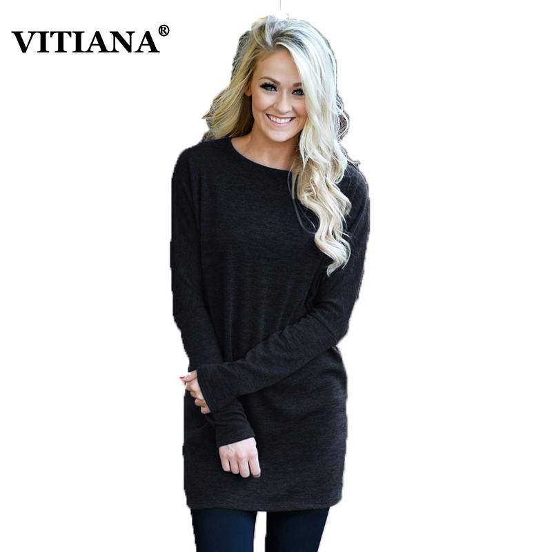 27a3060ecfa2 VITIANA Women Casual Kint Dress Female 2019 Autumn Spring Long Sleeve Solid  Black Green Wine Loose Mini Dresses Knitted Clothes Short Formal Dresses  Mother ...