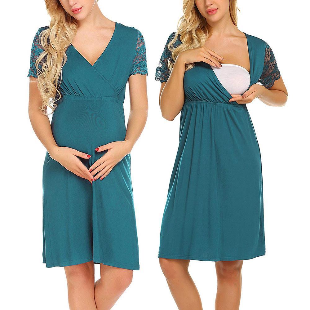 f643eaf53bf 2019 MUQGEW Maternity Breastfeeding Dresses Pregnant Womens Nursing  Nightgown Pregnancy Dress Lace Splice Maternity Dress Ropa Prema From  Jasmineer