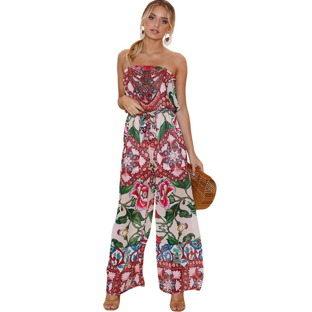 c6ea8af9b4 2019 Women Sexy Strapless Jumpsuit Vintage Boho Floral Print Off Shoulder  Rompers Ladies Backless Boho Loose Playsuit Pink Bodysuit From Fafachai02
