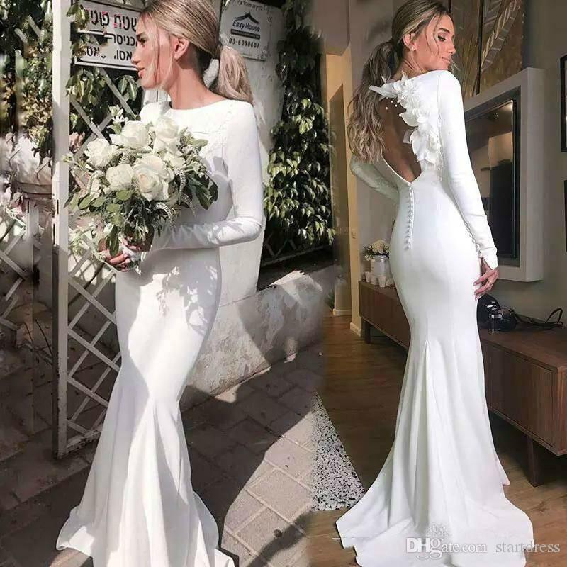 Simple Long Sleeve Wedding Dresses Jewel Neck Satin Open Back Floral